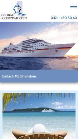 Vorschau der mobilen Webseite www.global-kreuzfahrten.de, Global Kreuzfahrten Service GmbH