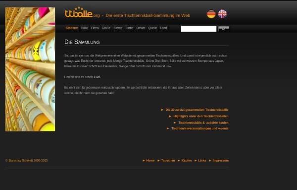 Vorschau von www.tischtennisbaelle.org, Die erste Tischtennisball-Sammlung im Web