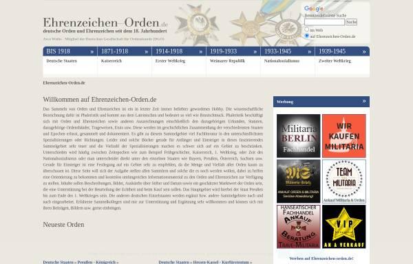 Vorschau von www.ehrenzeichen-orden.de, Deutsche Orden und Ehrenzeichen