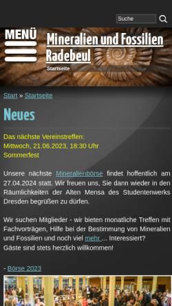 Vorschau der mobilen Webseite www.fg-radebeul.de, Fachgruppe Mineralogie und Paläontologie Radebeul