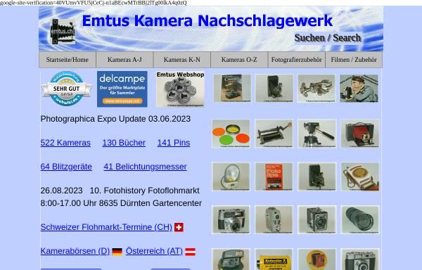 Vorschau von www.emtus.ch, Emtus Kamera Nachschlagewerk