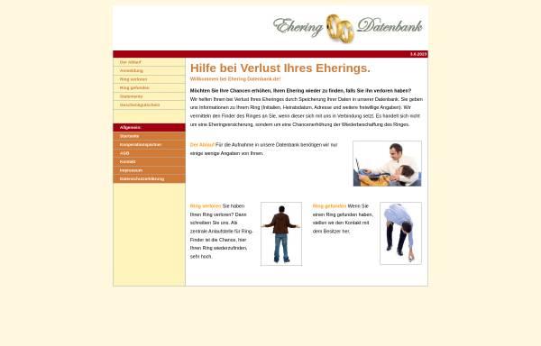 Vorschau von www.eheringdatenbank.de, Ehering Datenbank
