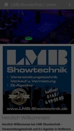 Vorschau der mobilen Webseite www.lmb-dj.de, Hochzeit und Eventservice