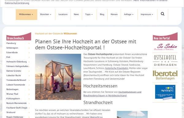 Vorschau von www.hochzeit-an-der-ostsee.de, Ostsee-Hochzeitsportal