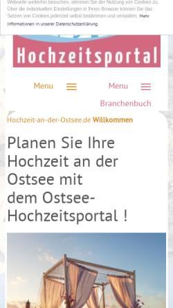 Vorschau der mobilen Webseite www.hochzeit-an-der-ostsee.de, Ostsee-Hochzeitsportal
