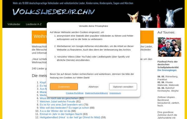 Vorschau von www.volksliederarchiv.de, Weihnachtslieder im Volksliederarchiv - Michael Zachcial