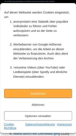 Vorschau der mobilen Webseite www.volksliederarchiv.de, Weihnachtslieder im Volksliederarchiv - Michael Zachcial