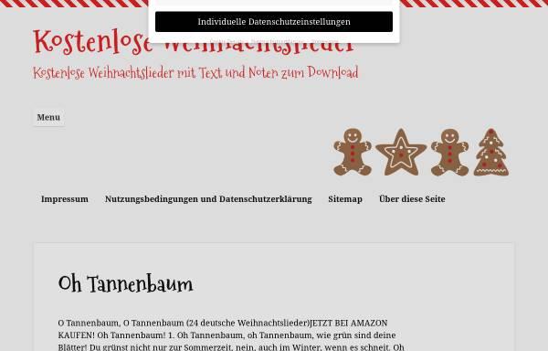 Vorschau von www.kostenlose-weihnachtslieder.com, Weihnachtslieder mit Text und Noten