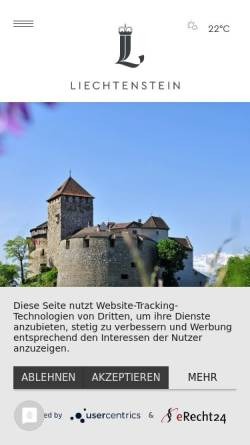 Vorschau der mobilen Webseite www.tourismus.li, Weihnachtsmärkte und Adventsanlässe - Liechtenstein Marketing