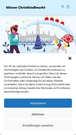 Vorschau der mobilen Webseite wienerweihnachtstraum.at, Wiener Christkindlmarkt - Stadt Wien Marketing GmbH