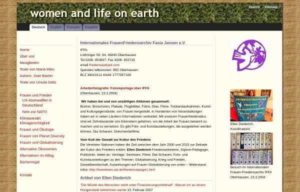 Vorschau von www.wloe.org, Internationales FrauenFriedensArchiv - Fasia Jansen e.V.