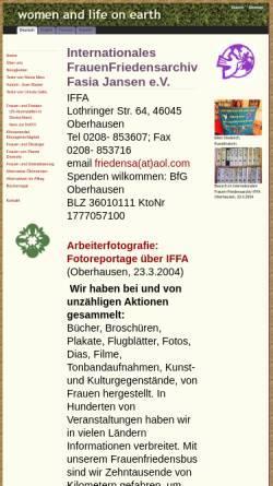 Vorschau der mobilen Webseite www.wloe.org, Internationales FrauenFriedensArchiv - Fasia Jansen e.V.
