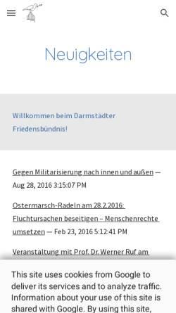 Vorschau der mobilen Webseite sites.google.com, Darmstädter Friedensbündnis