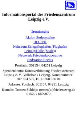 Vorschau der mobilen Webseite www.friedenszentrum-leipzig.de, Friedenszentrum Leipzig e.V.