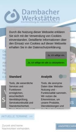 Vorschau der mobilen Webseite www.dambacher-werkstaetten.de, Dambacher Werkstätten für Behinderte gem. GmbH