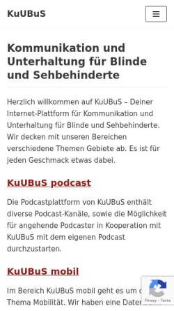 Vorschau der mobilen Webseite kuubus.de, KuUBuS