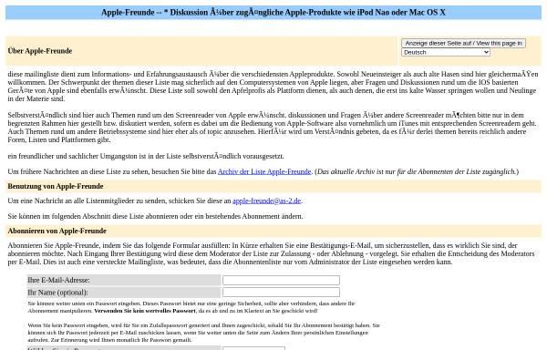 Vorschau von www.as-2.de, AppleFreunde Mailingliste