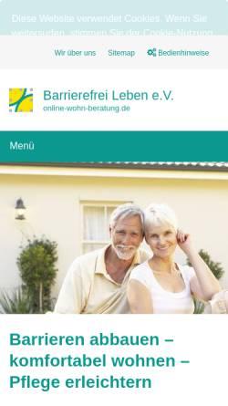 Vorschau der mobilen Webseite www.online-wohn-beratung.de, Beratung zu Hilfsmitteln für die Wohnung, Wohnungsanpassung und barrierefreier Hausbau