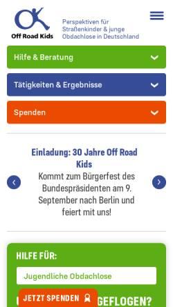 Vorschau der mobilen Webseite offroadkids.de, Off Road Kids Stiftung