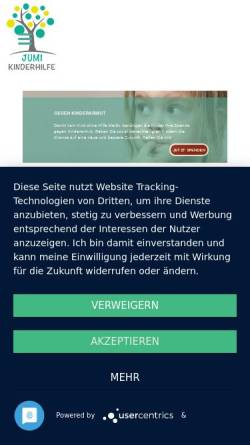 Vorschau der mobilen Webseite www.jumi-kinderhilfe.de, JUMI KINDERHILFE e.V.