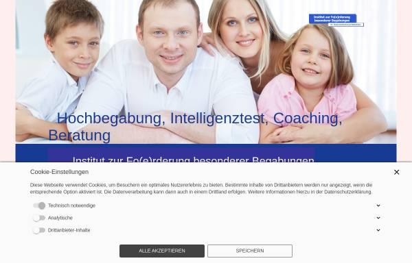 Vorschau von www.infobeg.de, Institut zur Fo(e)rderung besonderer Begabungen