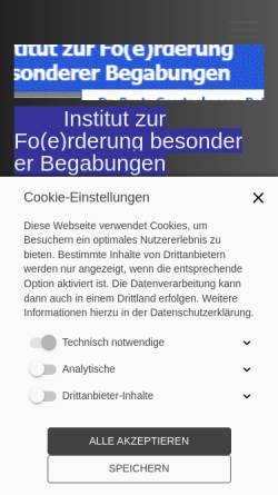Vorschau der mobilen Webseite www.infobeg.de, Institut zur Fo(e)rderung besonderer Begabungen