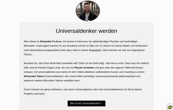 Vorschau von universaldenker.de, Fufaev, Alexander - Physik fürs Selbststudium & Ideenwerkstatt