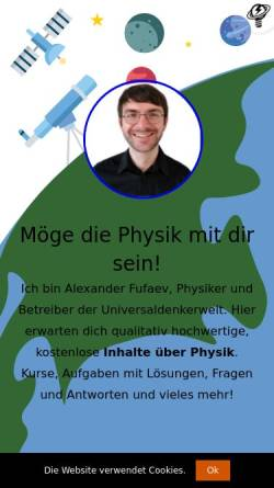 Vorschau der mobilen Webseite universaldenker.de, Fufaev, Alexander - Physik fürs Selbststudium & Ideenwerkstatt