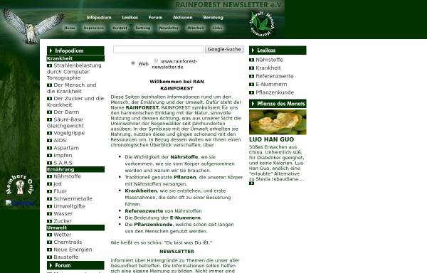 Vorschau von www.rainforest-newsletter.de, Rainforest Newsletter e. V.