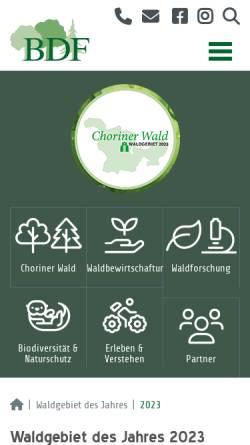 Vorschau der mobilen Webseite www.waldgebiet-des-jahres.de, Abstimmung zum Waldgebiet des Jahres