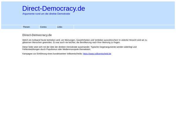 Vorschau von www.direct-democracy.de, Direct-Democracy.de - Argumente für eine direktere Demokratie