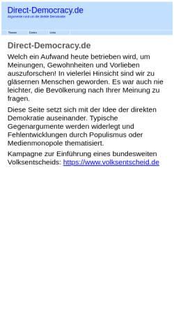 Vorschau der mobilen Webseite www.direct-democracy.de, Direct-Democracy.de - Argumente für eine direktere Demokratie