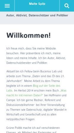 Vorschau der mobilen Webseite www.malte-spitz.de, Malte Spitz