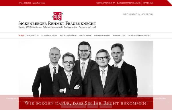 Vorschau von www.srf-hn.de, Rechtsanwaltskanzlei SRF-Sickenberger Rehmet Frauenknecht