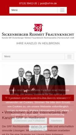 Vorschau der mobilen Webseite www.srf-hn.de, Rechtsanwaltskanzlei SRF-Sickenberger Rehmet Frauenknecht