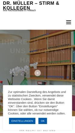 Vorschau der mobilen Webseite kanzlei-stirm.de, Dr. Müller - Stirm & Kollegen