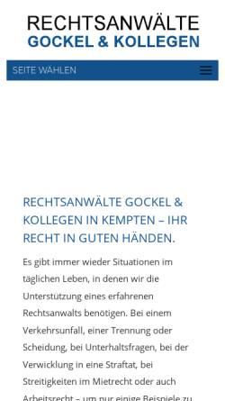 Vorschau der mobilen Webseite gockelundkollegen.de, Kanzlei Gockel & Kollegen