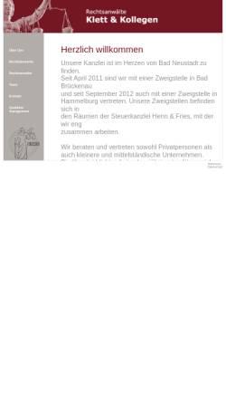 Vorschau der mobilen Webseite www.kanzlei-klett.de, Kanzlei Klett und Kollegen