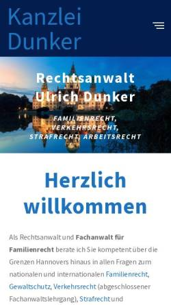 Vorschau der mobilen Webseite www.kanzlei-dunker.de, Rechtsanwalt Ulrich Dunker