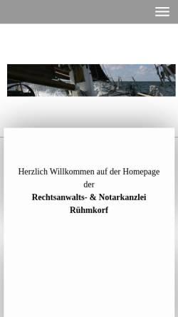 Vorschau der mobilen Webseite www.kanzlei-ruehmkorf.de, Kanzlei Rühmkorf