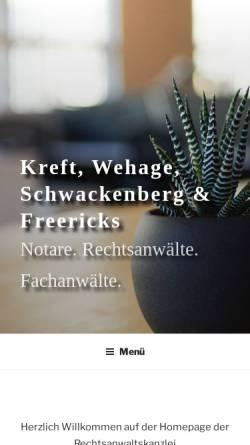 Vorschau der mobilen Webseite www.anwalt-ol.de, Kreft & Wehage; Notare | Rechtsanwälte | Fachanwälte