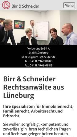 Vorschau der mobilen Webseite www.birr-schneider.de, Birr & Schneider - Rechtsanwaltssozietät