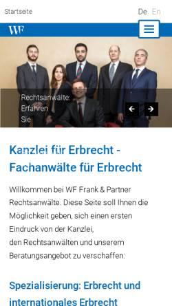 Vorschau der mobilen Webseite www.wf-kanzlei.de, Wiens, Frank & Partner