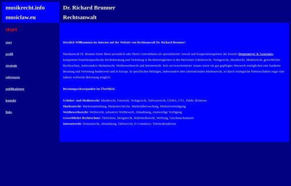 Vorschau von www.musikrecht.info, Rechtsanwalt Brunner Richard