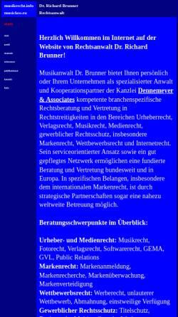 Vorschau der mobilen Webseite www.musikrecht.info, Rechtsanwalt Brunner Richard