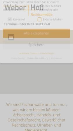 Vorschau der mobilen Webseite www.weber-hoss.de, Weber   Hoß Rechtsanwälte