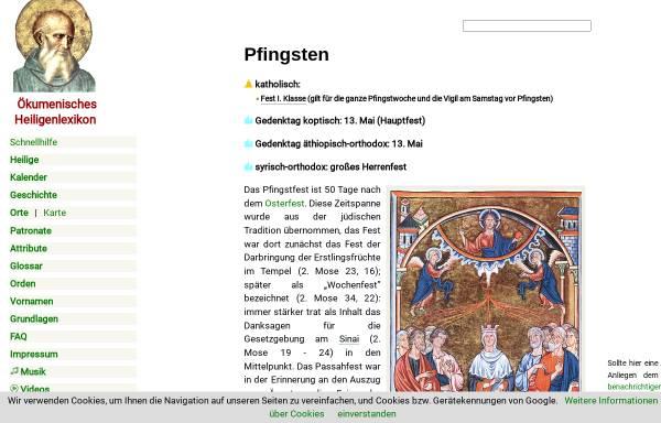 Vorschau von www.heiligenlexikon.de, Pfingsten