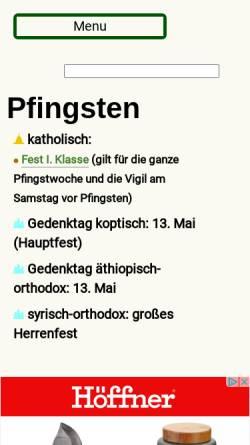 Vorschau der mobilen Webseite www.heiligenlexikon.de, Pfingsten