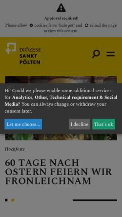 Vorschau der mobilen Webseite www.dsp.at, Diözese St. Pölten
