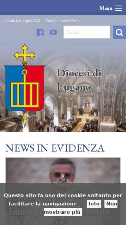 Vorschau der mobilen Webseite www.diocesilugano.ch, Bistum Lugano